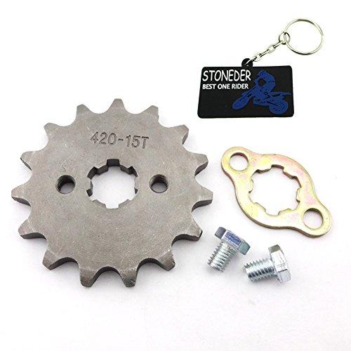 Stoneder - Ingranaggio dentato 420 per catena anteriore, 15denti, 17mm, per veicoli ATV/quad-bike/pit bike/dirt bike/trail bike con motori di 50cc/70cc/90cc/110cc/125cc/140cc/150cc/160cc
