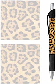 Pen and Sticky Note Pads - Stationery Gift Set - Wildlife Theme Design - Paper Memo Office Business School Supplies (Leopard Animal Print)