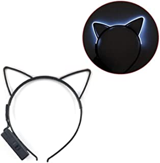 QQRS- Cold light headband, cat ear crown, unicorn LED night light hair accessory headband, night show props, cat ear headband, headband color options available (Color : 2)