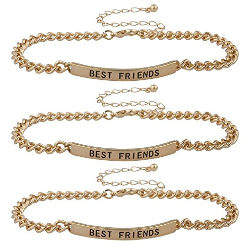 Lux Accessories Gold Tone Best Friends BFF ID Bracelet S