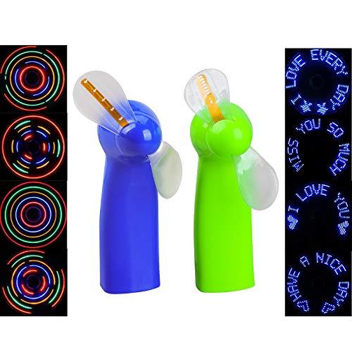 Ventilador portátil de 2 paquetes, ventilador LED a todo color luminoso, ventilador de mano, fuente de alimentación de batería seca, adecuado para viajes, oficina, albergue estudiantil o uso doméstico