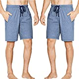 SGNOIEY Men's Sleep Shorts Comfort Cotton Knit Sleep Shorts & Lounge Wear with Pockets 2-Pack