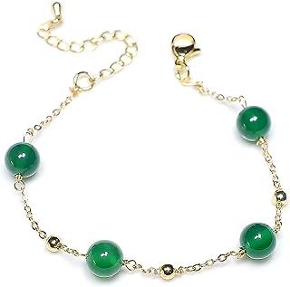 14k Gold Plated Link Bracelet for Women Girls, Adjustable Good Luck Jade Bead Bracelet丨Bridesmaid Bracelets