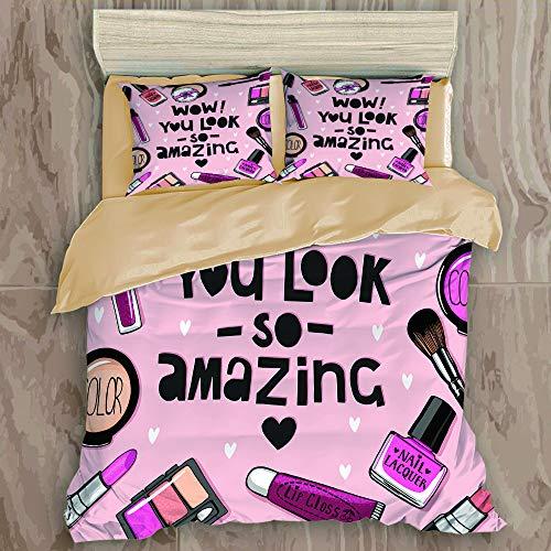 ALLMILL Set Biancheria da Letto,Care Pink Lipstick Cosmetics Set di smalti per Unghie Acquerello Powder Puff Eye Shadow,Set Copripiumino in Microfibra con Federa,3PCS