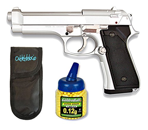 Outletdelocio. Pistola Airsoft MF-9S metálica. Calibre 6mm + Funda Portabalines + 1000 Bolas. 49615 21993 23054