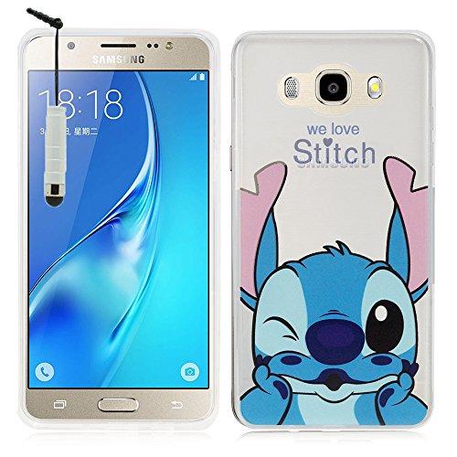 HCN PHONE Samsung Galaxy J5 (2016) Custodia Guscio di Silicone TPU Trasparente Ultra-Sottile Disegno Animato graziosa per Samsung Galaxy j5 (2016) - Stitch + Mini Stilo