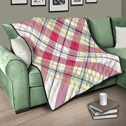 AXGM Colcha de cuadros rojos de tartán escocés, manta para el salón, diseño de viajes, camping, color blanco, 150 x 200 cm