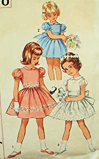 Simplicity 4870 Girl's 1950's One-Piece Vintage Dress Sewing Pattern, Flower Girl, Party Dress, 1st Communion Check Offers for Size