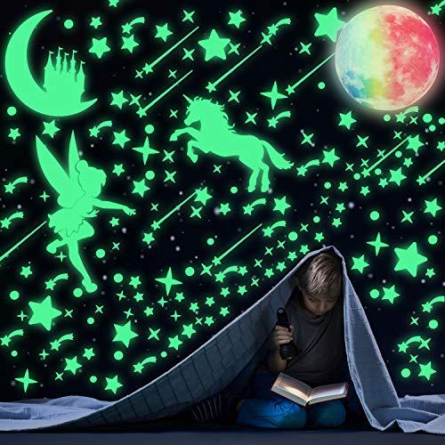 321 Stücke Leuchtende Punkte Sterne Aufkleber Märchen Glühend Einhorn Decken Abziehbild Set und 1 Stück Leuchtend Bunter Mond Fluoreszierender Mond Schloss Wand Dekor für Kinder Schlafzimmer DIY