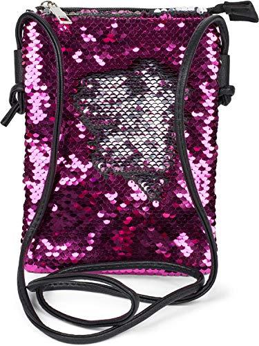 styleBREAKER Mini Bag Umhängetasche mit Wende-Pailletten, Schultertasche, Handtasche, Tasche, Damen 02012240, Farbe:Pink/Silber