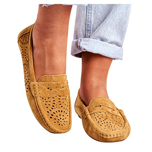 Buy Hemlock Women Slip On Loafers Hollow Out Flats Shoes Round Toe Lazy Shoes Breathable Casual Walk...