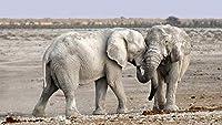 木製ジグソーパズルキッズおもちゃ大人のための2つの灰色の象のパズル1500ピース35x23in