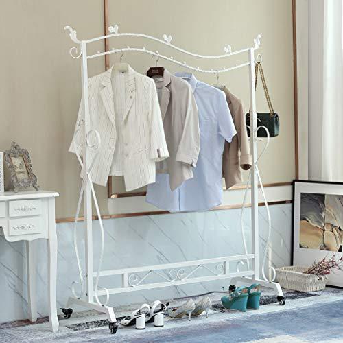 Loywe Kleiderständer im Vintage-Stil Garderobenständer Höhenverstellbar von 120 bis 160 cm mit Rollen und Schraubenschlüssel,Metall (Weiss mit Rollen)