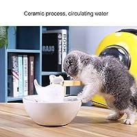 IMDOU セラミック猫飲む噴水ペット用品自動循環流水噴水小動物用スーパー静かなペット用ウォーターボウル1.5L キティをもっと作る (Color : White)