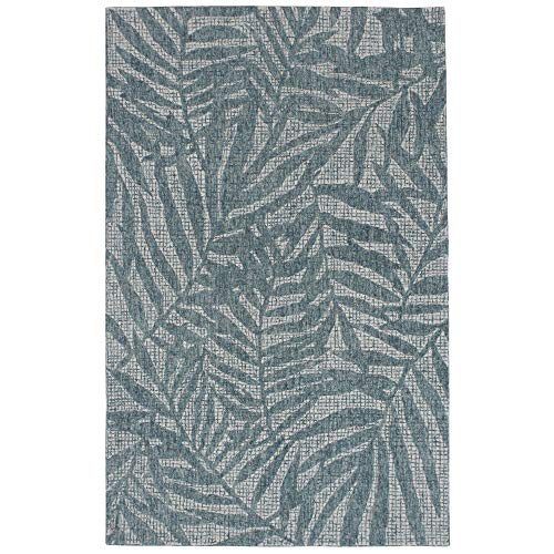 Liora Manne 9500/04 Teal Savannah Olive Branches Wool Indoor Rug, 3'6