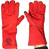 Long Garden Gloves Women Men Leather Gardening Tool Ladies Thorn Proof Heavy Duty Landscaping 14inch Red Jerry&Rain