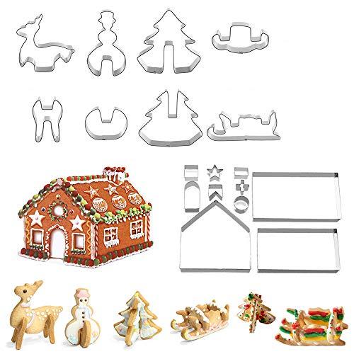 18 piezas Cortadores para Galletas,Molde de Galletas Navideñas Moldes Galletas galletas casa navideña cortador de fondant que incluye árbol de Navidad, muñeco de nieve, renos, formas de trineo