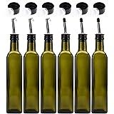 Kingrol 6 Pack 8 oz Glass Olive Oil Dispenser Bottles, Oil and Vinegar Cruets with Stainless Steel Pourer Spouts, Non-Drip Oil Bottles for Kitchen (Green)