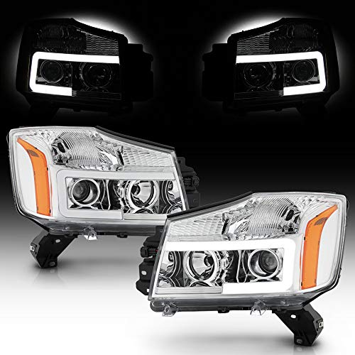 ACANII - For 2014-2015 Nissan Titan 04-07 Armada Chrome LED Tube Projector Headlights Headlamps Assembly Pair Left+Right
