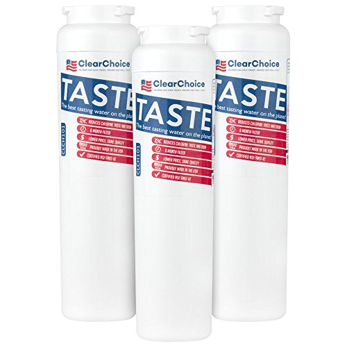 Clear Choice Taste Filter Replacement for Whirlpool UKF8001 WF50 Filter Compatible with EDR4RXD1 EFF-6013A FILTER4A FILTER4 Refrigerator Water Filter, NSF/ANSI 42, Box of 3, Made in the USA