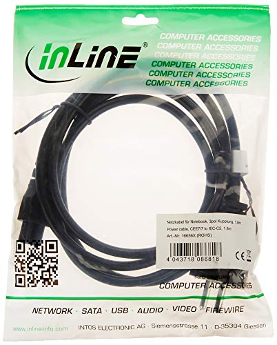 InLine 16656X Netzkabel für Notebook, 3pol Kupplung, schwarz, 1,8m