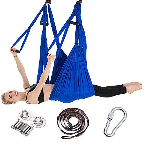 FLY FLU Aerial Yoga Hammock, Yoga Hammock/Harness/Sling Set, Air Yoga Swing Set, Anti-gravity Ceiling Yoga Sling, Inversion Swing For Professional Equipment, Purple,D