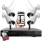 Sistema de cámara de vigilancia inalámbrica Sistema de cámara de vigilancia Kit, con visión Nocturna,1080p 8CH NVR con 1TB HDD para hogar/Oficina