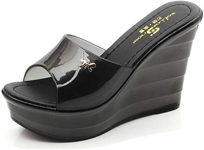 MEIZOKEN Women's Jelly Wedge Sandals Summer High Heel Platform shoes Comfort Open Toe Non-Slip Slide Slippers