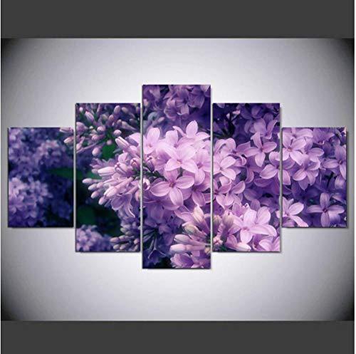 5 opeenvolgende schilderijen ter decoratie van wandafbeeldingen, muurkunst op canvas, 5 stuks, paarse bloemen, schilderijen met sproeifoto's, moderne planten, decoratieve muurkunst