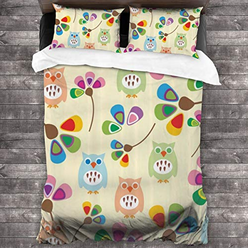 Duvet cover bedding Set,Design Owls With Flowers Leaves Branches Design For Kid Nursery Room Landscape,3 Piece Set bedding with 2 pillowcases,Super King(220 * 260cm)