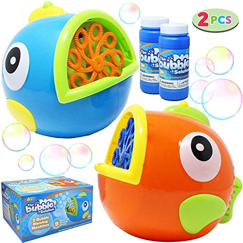 JOYIN 2 Pack Bubble Machines for Kids, Automatic Bubble Blowers, Bubble Makers, Bubbles Party Favors Supplies, Summer Toy, Outdoor / Indoor Activity Use, Birthday Gifts, Easter