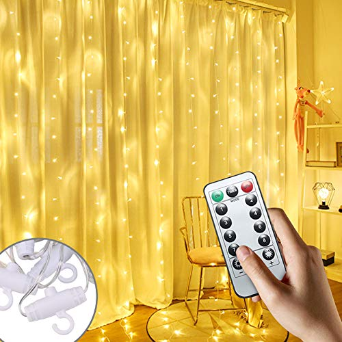 YORKING 300LED Fairy String Lights Curtain Window Wedding Party Decor Remote Indoor and Outdoor