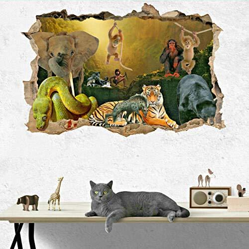 Adesivi da parete ADESIVO DA PARETE CON LIBRO PER BAMBINI ANIMALI DELLA GIUNGLA 3D ARTE MURALE PER BAMBINI DECORAZIONE CAMERA DA LETTOAdesivi e murali da parete 50 * 70CM