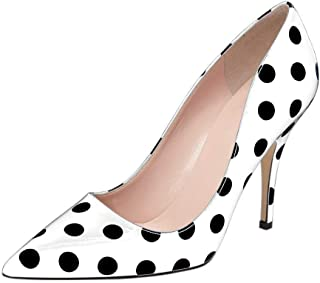 Women Chic Pointed Toe Slip on Stilettos Mid Heel Pumps Polka Dots Shoes for Party