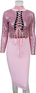 Women Long Sleeve Sexy Pink Sequin Split Bodycon Clubwear Party Midi Dress