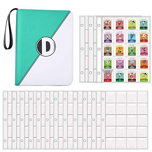 D DACCKIT 300 Taschen Binder für Animal Crossing Mini Amiibo Karten, hält 300 ACNH NFC Tag Spielkarten (Grün & W)