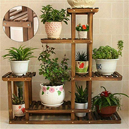 Yunge - Estante de madera de 6 niveles para plantas y flores, estante de almacenamiento para bonsái, estante de almacenamiento al aire libre, interior o exterior, 95 x 26 x 97 cm