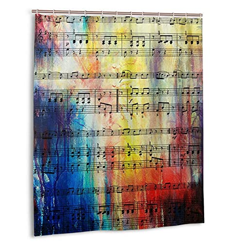 Jreergy Shower Curtain Piano Art Music Notes Shower Curtains for Bathroom Decor Waterproof Polyester Fabric Bath Curtains 60 X 72 Inches