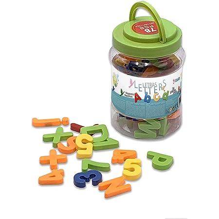 Tachan - Bote 72 Letras y Números magnéticos de colores (74032340)