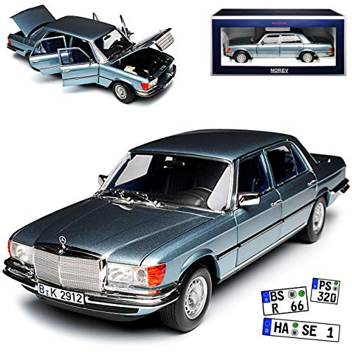Norev Mercedes-Benz S-Klasse W116 450 SEL 6.9 1976 Blau Grau Metallic 1972-1980 1/18 Modell Auto