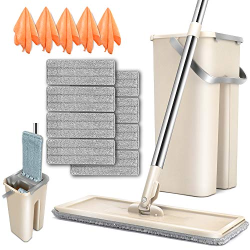 Flat Squeeze Mop and Bucket Set with 8PCS Microfiber Pads Refills 180 Rotated Head Small Self-Wringing Mop Bucket System for Hardwood Laminate Marble Ceramic Tile Floors Cleaning