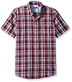 IZOD Men's Breeze Short Sleeve Button Seersucker Shirt, Plaid Biking red, Medium