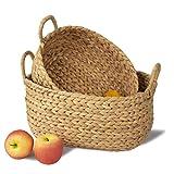 MadeTerra - Juego de 2 cestas de almacenamiento de bambú con asas, cesta decorativa organizadora...