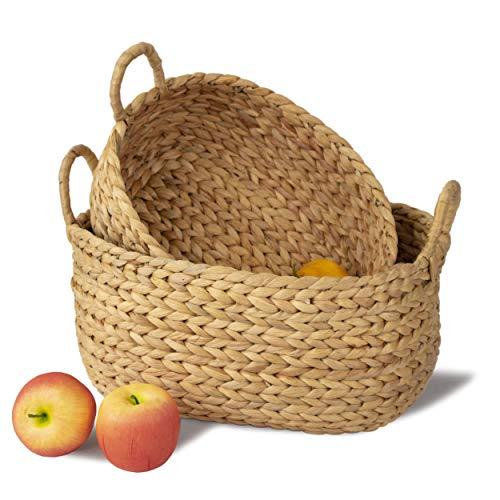 MadeTerra - Juego de 2 cestas de almacenamiento de bambú con asas, cesta decorativa organizadora para cocina, sala de estar, vestir, bebé, guardería, juguete para niños (natural)