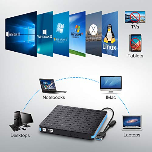 Externes CD DVD Laufwerk, SAWAKE USB 3.0& USB C CD Laufwerk, tragbare DVD/CD Lesegerät PC Player niedriger Lärm/Slim Superdrive für Laptop, Desktop, Mac, MacBook, Windows 10/8/7, Linux, Vista, MacOS