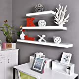 AIMU Set of 3 Floating Wall Shelves,Wooden Shelves for Wall,Home Storage Organizer Shelf, Display Shelves with Invisible Brackets,White.