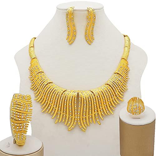TCross Conjuntos de Joyas de Color Dorado de 24k para Mujeres Bridal Collar de Lujo Pendientes Pulsera Anillo Set Indian African Wedding Fine Regalos (Metal Color : BJ837 1)