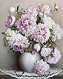 ZXDA Pintura por números Pintura de Flores Rosas sin Marco por números sobre Lienzo Pintura de números DIY Paisaje decoración del hogar Regalo A18 50x65cm