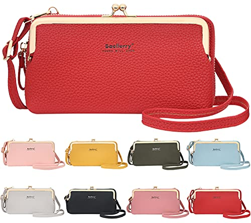 Koomunen Funda para teléfono móvil con monedero para mujer, bolso bandolera de piel cruzada con correa, bolso de hombro para teléfono móvil de menos de 7 pulgadas, color Rojo, talla Medium