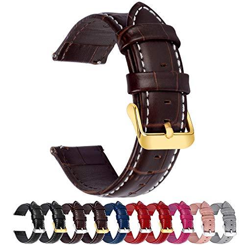 Fullmosa 7 Farben Für Uhrenarmband, Echtes Kalbsleder Uhrarmband für Mann Frau Bambus Muster Lederarmband mit Edelstahl Metall Schließe 22mm,Dunkelbraun mit Golden Schnalle